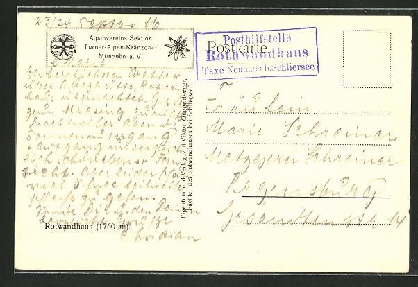 AK Landpoststempel Posthilfstelle Rothwandhaus, Taxe Neuhaus b. Schliersee 0