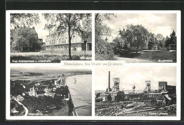 AK Dinslaken, Kohlenzeche Lohberg, Evgl. Krankenhaus und Altersheim 0