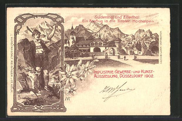 Lithographie Düsseldorf, Industrie-, Gewerbe- und Kunst-Ausstellung 1902, Suldenthal und Zillerthal 0