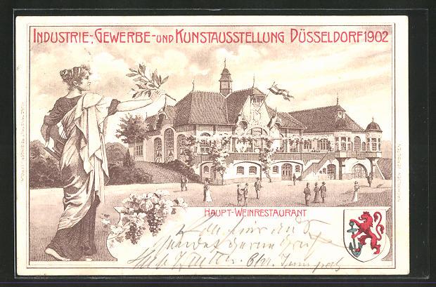 Lithographie Düsseldorf, Industrie-, Gewerbe- und Kunst-Ausstellung 1902, Haupt-Weinrestaurant 0