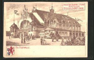 Lithographie Düsseldorf, Industrie-, Gewerbe- und Kunst-Ausstellung 1902, Festhalle