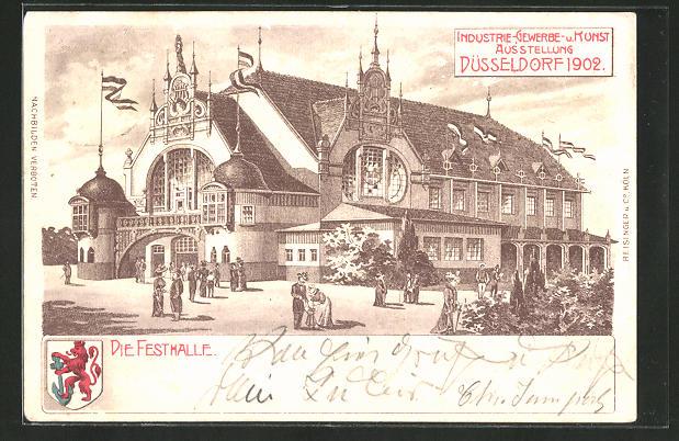 Künstler-AK Düsseldorf, Industrie-, Gewerbe- und Kunst-Ausstellung 1902, Ansicht der Festhalle 0