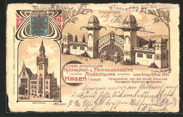 Lithographie Hagen i. W., Erste provinziale Kochkunst- und Fachgewerbliche Ausstellung 1905, Hauptgebäude 0