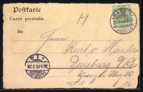 Lithographie Hagen i. W., Erste provinziale Kochkunst- und Fachgewerbliche Ausstellung 1905, Hauptgebäude 1