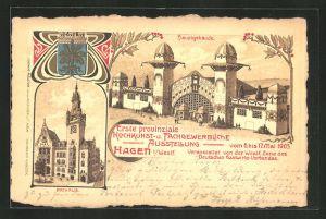Lithographie Hagen i. W., Erste provinziale Kochkunst- und Fachgewerbliche Ausstellung 1905, Hauptgebäude, Rathaus