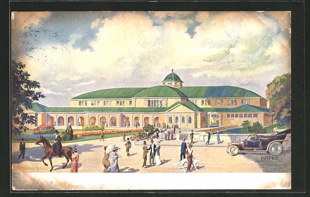Künstler-AK Essen, Gewerbeschau 1913, Eingang und grosse Halle 0