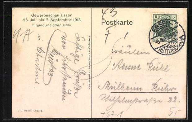 Künstler-AK Essen, Gewerbeschau 1913, Eingang und grosse Halle 1