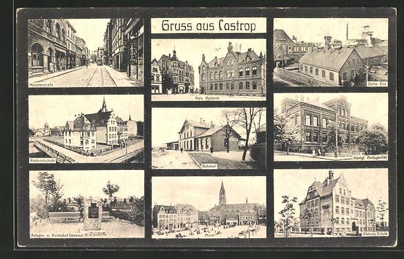 AK Castrop, Kohlenzeche Erin, Münsterstrasse, Bahnhof, Rektoratschule 0