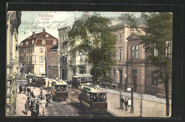 AK Duisburg, Strasse am Kuhtor mit sich kreuzenden Strassenbahnen 0