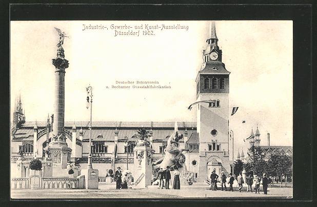 AK Düsseldorf, Deutscher Betonverein & Bochumer Gussstahlfabrikation, Industrie-, Gewerbe- & Kunst-Ausstellung 1902 0