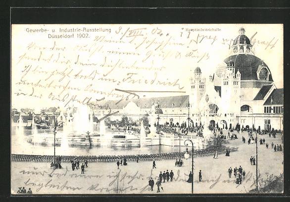 AK Düsseldorf, Hauptindustriehalle, Gewerbe- und Industrie-Ausstellung 1902 0
