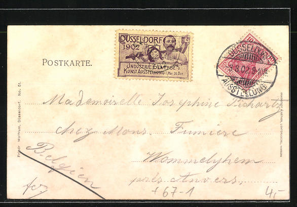 AK Düsseldorf, Hauptindustriehalle, Gewerbe- und Industrie-Ausstellung 1902 1