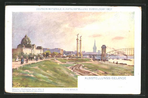 AK Düsseldorf, Ausstellungs-Gelände, Deutsch-Nationale Kunstausstellung 1907 0