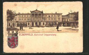AK Elberfeld, Vorderansicht vom Bahnhof Döppersberg