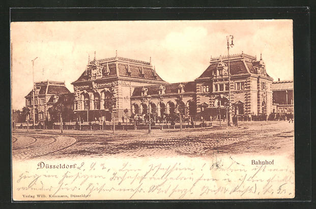 AK Düsseldorf, Vorderansicht vom Bahnhof 0