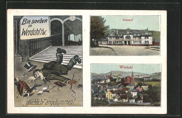 AK Werdohl, Bahnhof mit Gesamtansicht vom Ort 0