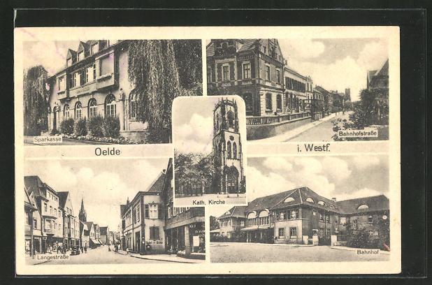 AK Oelde, Sparkasse, Bahnhofstrasse, Langestrasse, Bahnhof 0
