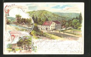 AK Dahlerbrück, Veranda v. Hotel Hecke, Bahnhof, Flusspartie