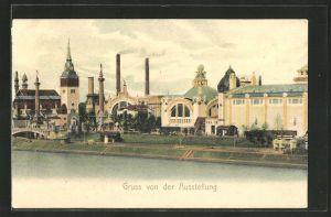 AK Düsseldorf, Panorama der Gewerbe- und Industrie-Ausstellung 1902