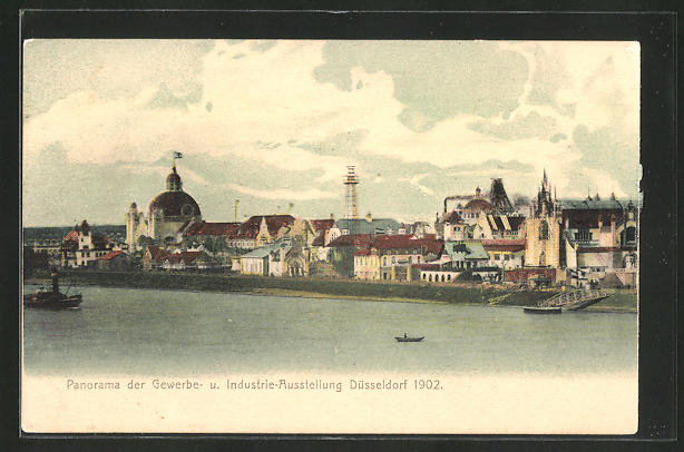 AK Düsseldorf, Panorama der Gewerbe- und Industrie-Ausstellung 1902 0