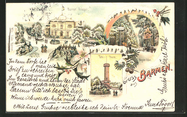 Winter-Lithographie Barmen, Barmer Anlagen, Wegner-Höhe, Tölle-Thurm 0