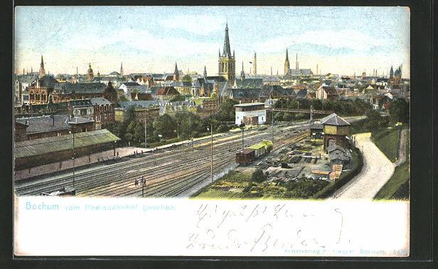AK Bochum, Totalansicht vom Rheinbahnhof gesehen 0
