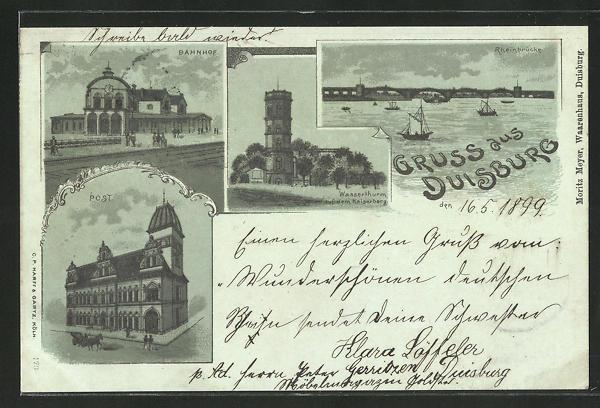 Lithographie Duisburg, Bahnhof, Post, Wasserthurm auf dem Kaiserberg, Rheinbrücke 0