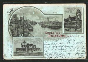 Mondschein-Lithographie Duisburg, Hafen, Bahnhof, Post