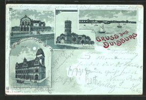 Mondschein-Lithographie Duisburg, Wasserthurm, Post, Bahnhof, Rheinbrücke