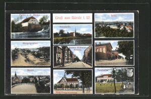 AK Bünde, Partie a. d. Mühle, Neuer-Bahnhof, Elsepartie, Mergelgruben, Kaiser Wilhelm-Strasse, Markt, Real-Progymnasium