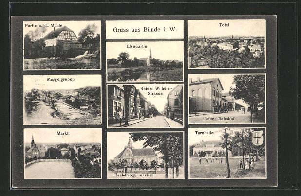 AK Bünde, Neuer Bahnhof, Turnhalle, Elsepartie, Kaiser Wilhelm-Strasse, Real-Progymnasium, Markt, Mergelgruben 0