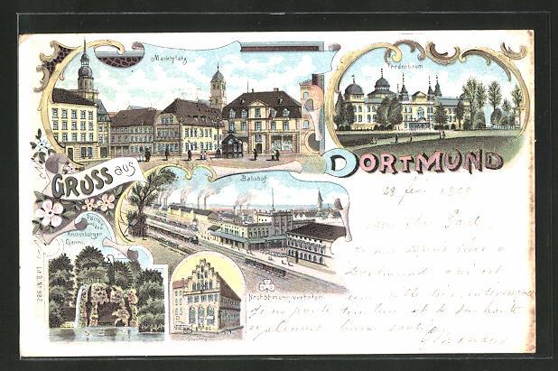 Lithographie Dortmund, Bahnhof, Fredenbaum, Marktplatz, Kronenburger-Garten 0