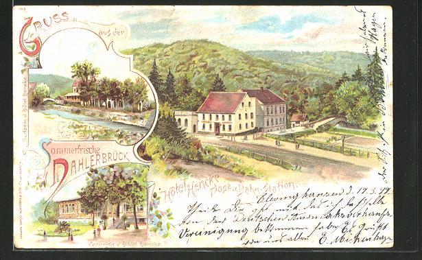 Lithographie Dahlerbrück, Veranda v. Hotel Hencke, Bahnhof, Flusspartie 0