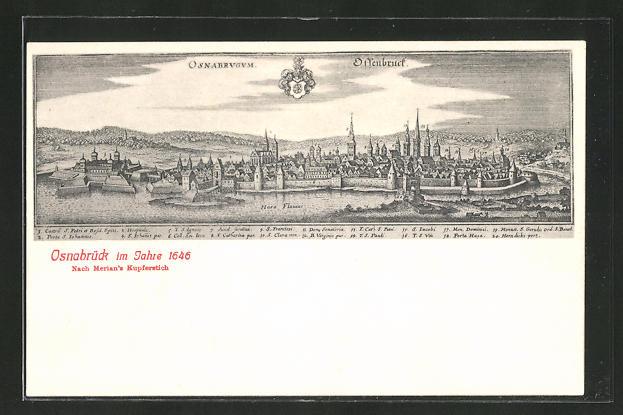 AK Osnabrück, Ortsansicht im Jahre 1646 nach Merian's Kupferstich