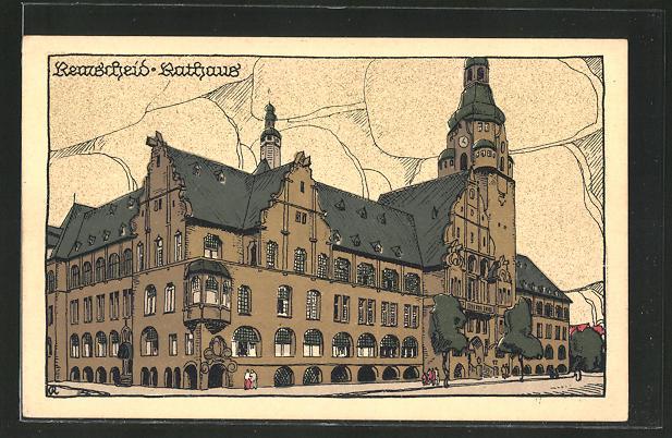 Steindruck-AK Remscheid, Partie am Rathaus 0