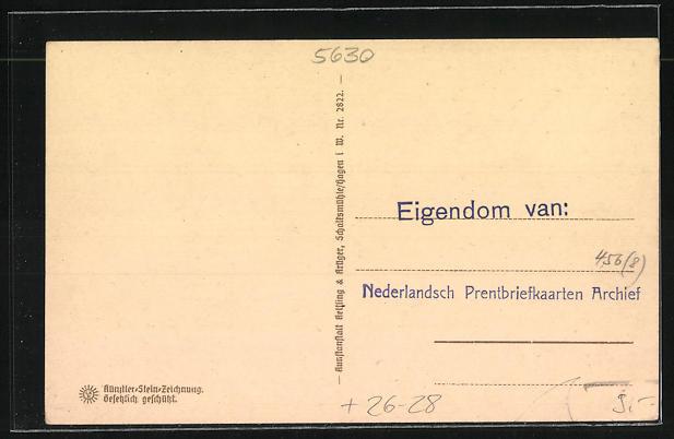 Steindruck-AK Remscheid, Partie am Rathaus 1