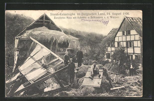 AK Balkhausen, Zerstörtes Haus mit Scheune, Unwetter am 14. Aug. 1906 0