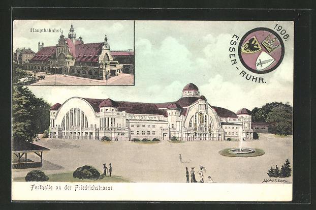 AK Essen, Festhalle an der Friedrichstrasse, Hauptbahnhof, 53. Gen.-Versammlung der Katholiken Deutschlands 1906 0