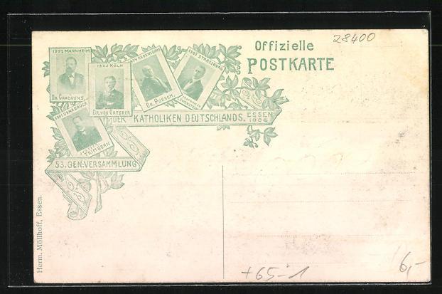 AK Essen, Festhalle an der Friedrichstrasse, Hauptbahnhof, 53. Gen.-Versammlung der Katholiken Deutschlands 1906 1