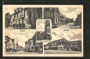 AK Oelde, Sparkasse, Bahnhofstrasse, Langestrasse, Bahnhof