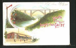Lithographie Solingen, Kaiser Wilhelm Brücke und Bahnhof Schoberg