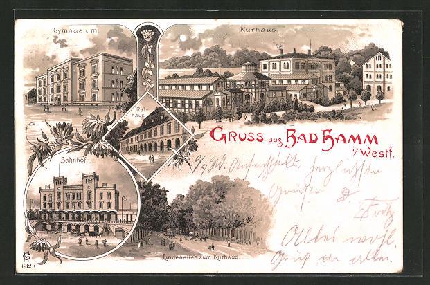 Lithographie Bad Hamm, Bahnhof, Gymnasium, Rathaus, Kurhaus, Lindenallee zum Kurhaus 0