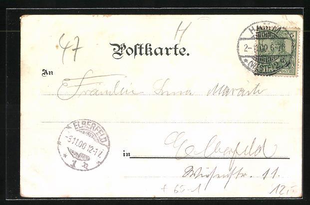 Lithographie Bad Hamm, Bahnhof, Gymnasium, Rathaus, Kurhaus, Lindenallee zum Kurhaus 1