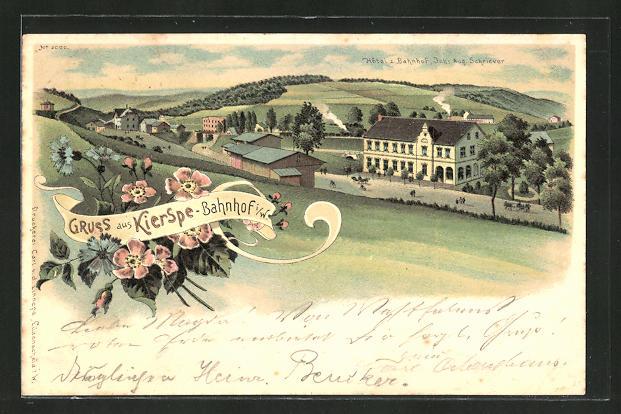 Lithographie Kierspe, Hotel z. Bahnhof von Aug. Schriever, Bahnhof 0