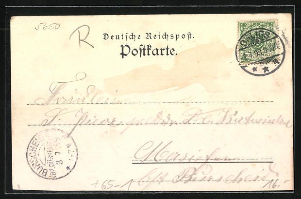 Lithographie Ohligs, Weingrosshandlung Rudolf Küpper aus der Vogelschau mit Bahnhof 1