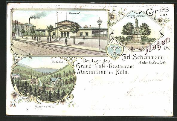 Lithographie Hagen, Bahnhof, Waldlust, Krieger Denkmal 0