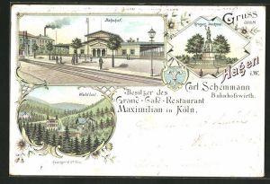 Lithographie Hagen, Bahnhof, Waldlust, Krieger Denkmal