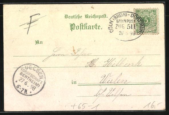 Lithographie Hagen, Bahnhof, Waldlust, Krieger Denkmal 1