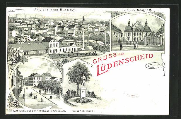 Mondschein-Lithographie Lüdenscheid, Wilhelmstrasse m. Rathaus & Kirchplatz, Schloss Neuenhof, Ansicht vom Bahnhof 0