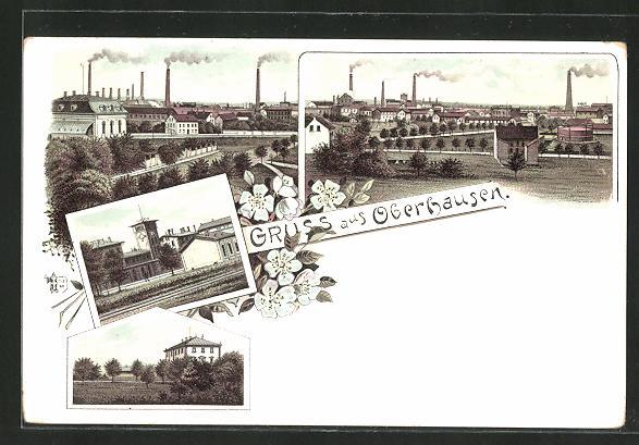 Lithographie Oberhausen, Bahnhof, Ortspartie, Totalansichten mit Fabrikschloten 0